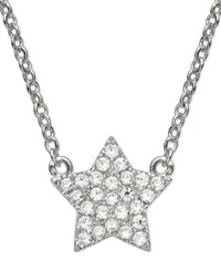 Crislu Children's Necklace Platinum Over Sterling Silver Star Cubic Zirconia Pendant Necklace 1 8 Ct. T.W.