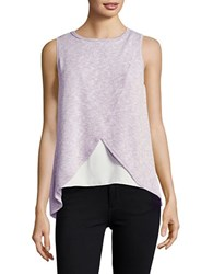 Casual Couture By Green Envelope Knit Mock Wrap Top Lilac White