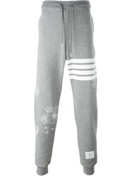 Thom Browne Embroidered Details Sweat Pants Grey