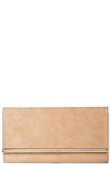 Jimmy Choo 'Large Maia' Patent Leather Clutch Nude