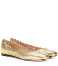 Chloe Lauren Metallic Leather Ballerinas Gold