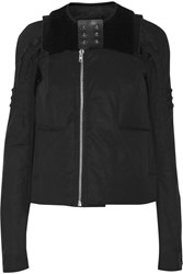 Rick Owens Shearling Trimmed Cotton Blend Jacket Black