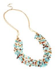 Kenneth Cole Semiprecious Chip Multi Row Layered Necklace Multicolor