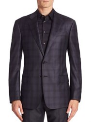 Giorgio Armani Soft Model Slate Check Sport Coat
