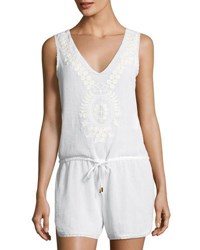 Ondademar Oasis Hues Cotton Playsuit White