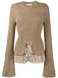 Givenchy Knitted Lace Hem Jumper Women Cotton Polyamide Viscose Wool L Brown