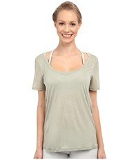 Alo Yoga Luxx Short Sleeve Top Sea Mist Women's Short Sleeve Pullover Green