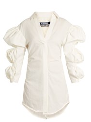Jacquemus Puff Sleeve Cotton Mini Shirtdress Ivory