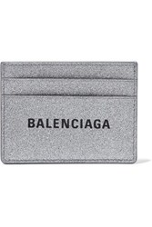 Balenciaga Everyday Glittered Leather Cardholder Silver