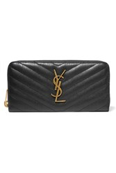 Saint Laurent College Quilted Textured Leather Continental Wallet Black