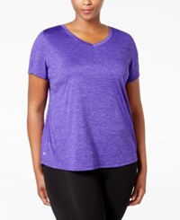 Ideology Plus Size Essential V Neck Performance T Shirt Only At Macy's Blazing Purple