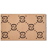 Gucci Oversized Gg Wool Scarf Brown