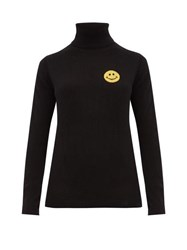 Bella Freud Happy Roll Neck Cashmere Blend Sweater Black Yellow