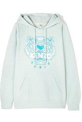 Kenzo Embroidered Cotton Jersey Hoodie Sky Blue