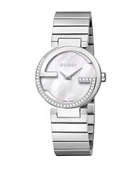 Gucci Ladies Silvertone And Diamond Watch