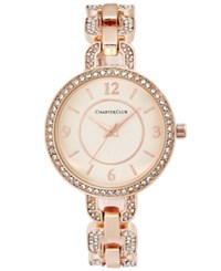 Charter Club Women's Pave Rose Gold Tone Bracelet Watch 33Mm Only At Macy's