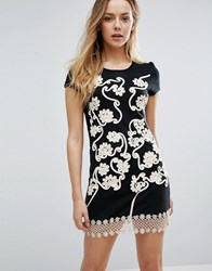 Jasmine Crochet Floral Shift Dress Black