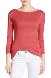 Caslonr Women's Caslon Three Quarter Sleeve Tee Coral Spice