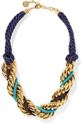 Ben Amun Braided Cord And Gold Plated Necklace One Size