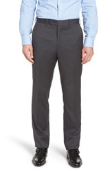 John W. Nordstrom Big And Tall Torino Traditional Fit Flat Front Solid Trousers Gunmetal