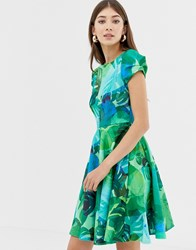 Closet Print Cap Sleeve Skater Dress Green