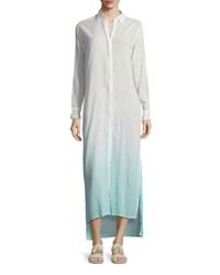 Letarte Button Front Long Ombre Beach Shirtdress Pink