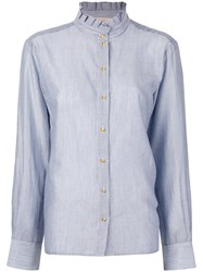 Vanessa Bruno Classic Fitted Shirt Women Cotton Tencel 38 Blue