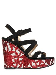 Paul Andrew 120Mm Lotus Suede And Jacquard Wedges