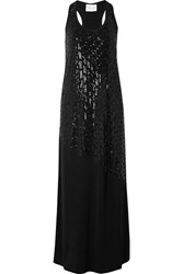 Marie France Van Damme Sequined Stretch Jersey Maxi Dress Black