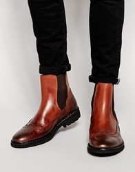 Selected Homme Brogue Chelsea Boots Brown