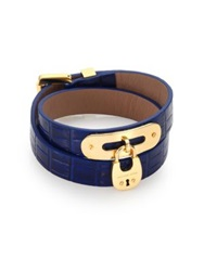 Michael Kors Cityscape Hardware Padlock Crocodile Embossed Leather Double Wrap Bracelet Blue Gold