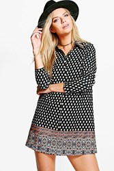 Boohoo Geo Print Paisley Shirt Dress Multi