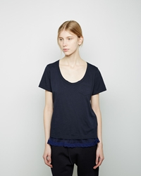 Sacai Luck Lace Trim T Shirt Navy