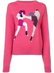 Barrie Figure Embroidered Sweater Pink And Purple