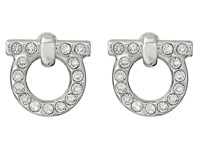Salvatore Ferragamo Gancio Stud Earrings Palladium Crystal Earring Silver