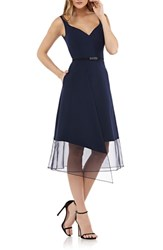 Kay Unger Organza Overlay Tea Length Dress Navy