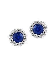 Effy Royale Bleu 0.12Tcw Diamonds And Sapphire 14K White Gold Stud Earrings
