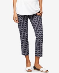 A Pea In The Pod Maternity Printed Skinny Pants Navy White Geo Print