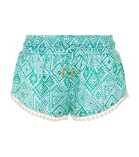 Paloma Blue Tie Waist Patterned Shorts Female Green
