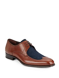 Mezlan Suede And Leather Brogue Wingtip Oxfords Medium Brown
