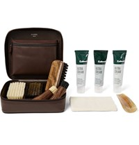 Cedes Milano Travel Shoe Care Set With Leather Case Brown