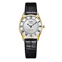 Rotary Ls90803 01 Women's Les Originales Ultra Slim Leather Strap Watch Black White