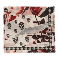 Alexander Mcqueen White And Pink Rose Skull Scarf