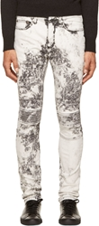 Neil Barrett Black And White Acid Wash Biker Jeans