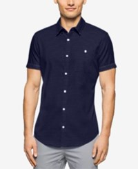 Calvin Klein Men's Slim Fit Textured Short Sleeve Shirt Navy Blazer