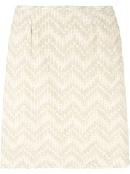 Jean Louis Scherrer Vintage Chevron Striped Skirt Nude And Neutrals