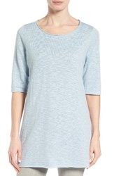 Eileen Fisher Women's Organic Linen And Cotton Slub Tee Morning Glory
