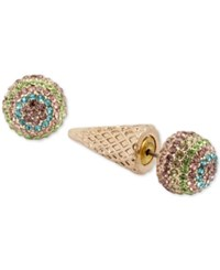 Betsey Johnson Gold Tone Pave Ice Cream Cone Earring Jackets Multi