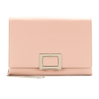 Roger Vivier Leather Envelope Clutch Rosa Salmone