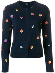 Paul Smith Embroidered Flower Cardigan Blue